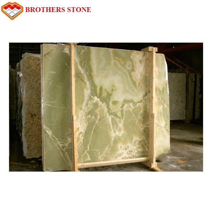Customized Light Green Onyx Marble Stone Slab With 15-18mm Thickness