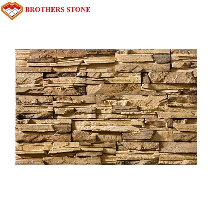 Dark Color Cultured Stone Faux Stone Walls With Interlocking Panels